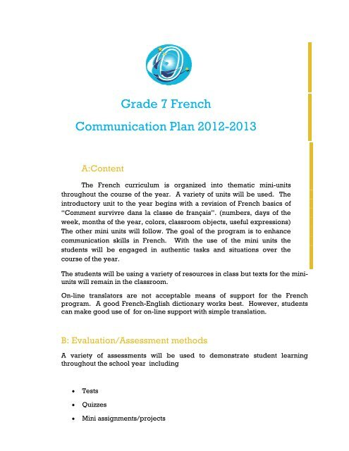 Grade 7 French Communication Plan 2012-2013