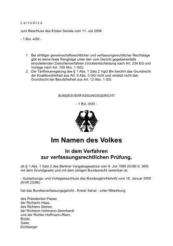 BVerfG, Beschluss vom 11.07.2006 - Hoffmann-gress.de
