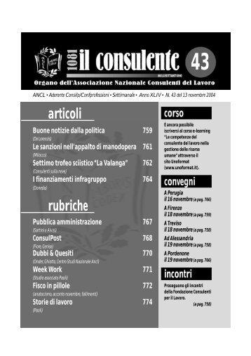 N. 43 del 13 novembre 2004 772 il consulente 1081 - Ancl