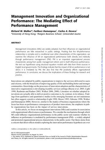 Management Innovation and Organizational Performance: The ...