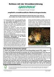 Schluss mit der Urwaldzerstörung - Greenpeace-Gruppe Stuttgart