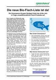 Die neue Bio-Fisch-Liste ist da! - Greenpeace-Gruppe Stuttgart