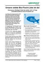 Unsere siebte Bio-Fisch-Liste ist da - Greenpeace-Gruppe  Stuttgart