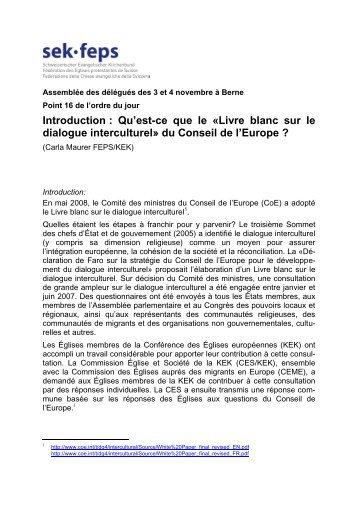 """ntroduction : Qu'est-ce que le """"Livre blanc sur le dialogue interculturel"""""""