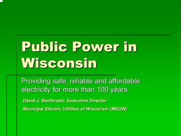 Dave Benforado, Municipal Electric Utilities of Wisconsin
