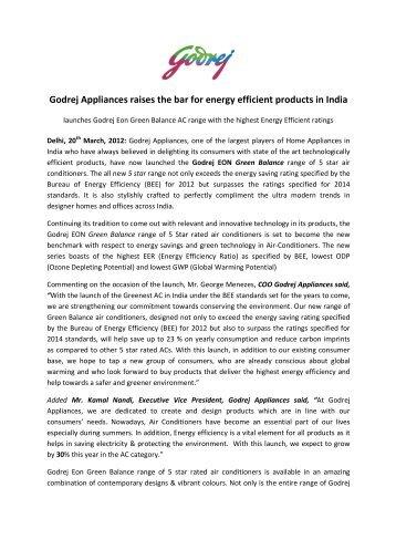 Godrej Appliances raises the bar for energy ... - Godrej & Boyce