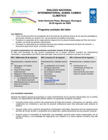 DIALOGO NACIONAL INTERMINISTERIAL SOBRE ... - UNDPCC.org