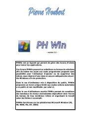 PHWin est un logiciel qui permet de gérer des écrans d'icônes pour ...