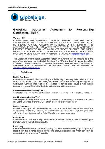 GlobalSign Subscriber Agreement for PersonalSign Certificates