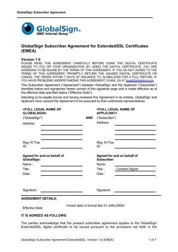 GlobalSign Subscriber Agreement for ExtendedSSL Certificates ...