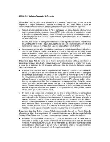 ANEXO 3 - Principales Resultados de Encuesta Encuesta en Chile ...