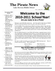 The Pirate News Welcome to the 2010-2011 School Year!