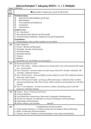 Jahresarbeitsplan 7. Jahrgang 2010/11 - 1. + 2. Halbjahr