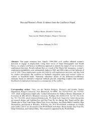 War and Women's Work; Evidence from the Conflict in Nepal