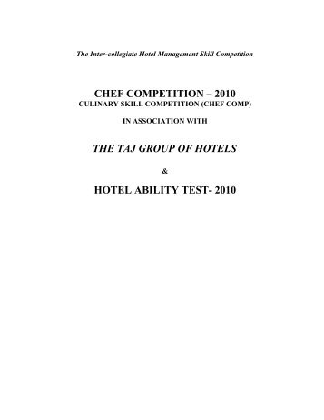 chef competition – 2010 the taj group of hotels ... - Christ University