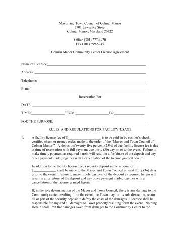 a hall rental contract facility waiver in pdf format sterling golf. Black Bedroom Furniture Sets. Home Design Ideas