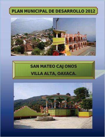 plan de municipal de desarrollo san mateo cajonos, villa alta