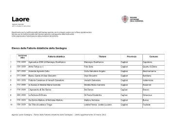 Elenco delle Fattorie didattiche della Sardegna - Sardegna Agricoltura
