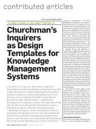 Churchman's inquirers as design templates for knowledge ...
