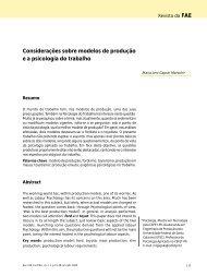 Considerações sobre modelos de produção e a psicologia do ... - FAE