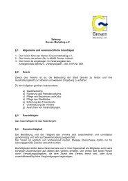 Satzung Greven Marketing eV § 1 Allgemeine und vereinsrechtliche ...
