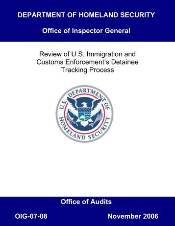 Review of ICE Detainee Tracking Process - Office of Inspector ...