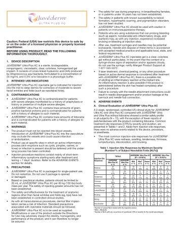 JUVÉDERM™ Ultra Patient Labeling - Allergan