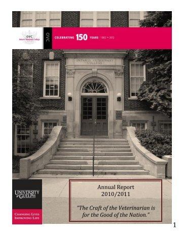 Annual Report 2010/2011 - Ontario Veterinary College - University ...