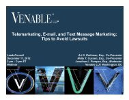 Telemarketing, E-mail, and Text Message Marketing ... - Venable LLP
