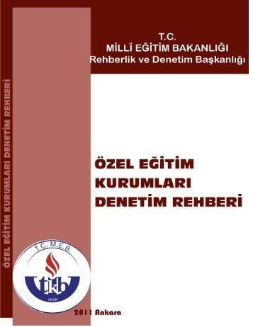 Özel, Özel Eğitim Kurumları Denetim Rehberi - Milli Eğitim Bakanlığı ...