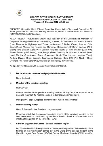 Minutes of the previous meeting held on 9 October 2012 PDF 140 KB