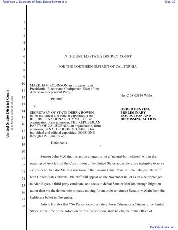 ORDER DENYING PRELIMINARY INJUNCTION AND DISMISSING ...