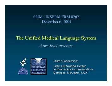 The Unified Medical Language System - Medical Ontology Research