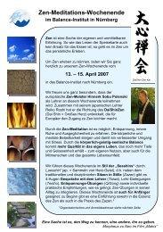 Zen-Meditations-Wochenende im Balance-Institut in Nürnberg