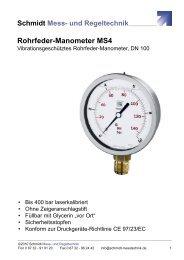 Datenblatt Rohrfeder-Manometer MS4 - Schmidt - Mess- und ...