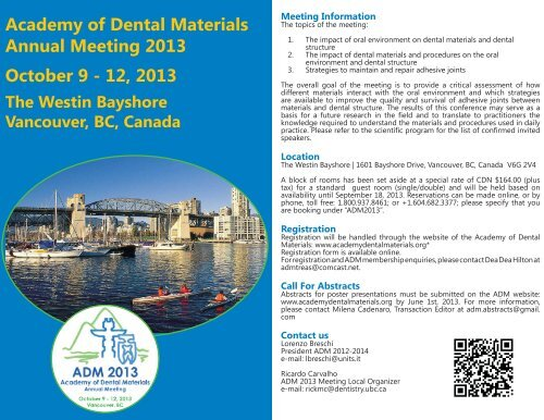 view the meeting brochure - Academy of Dental Materials