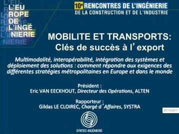 MOBILITE ET TRANSPORTS: Clés de succès à l ... - Syntec ingenierie
