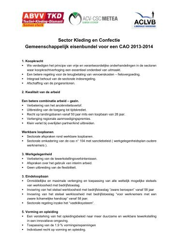 gemeenschappelijk eisenbundel voor een cao 2013-2014 - Aclvb