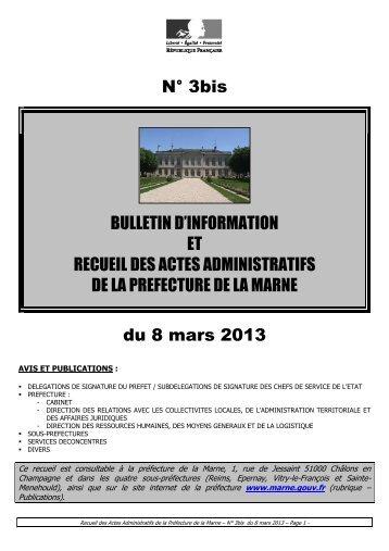 Recueil 3bis-2013 du 8 mars.pdf - Préfecture de la Marne