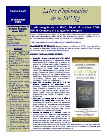 LETTRE D'INFORMATION VOLUME 3 NO 10, 28 SEPTEMBRE 2009
