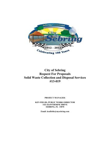 Solid Waste Collection and Disposal Services - City of Sebring, Florida