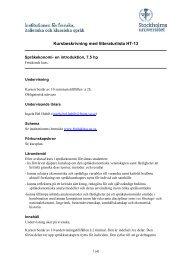 Kursbeskrivning med litteraturlista HT-13 - Stockholms universitet