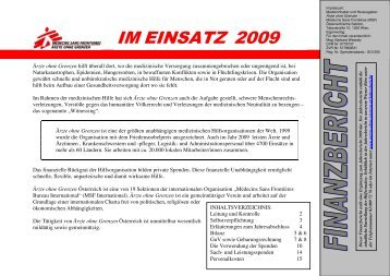 Finanzbericht Österreich 2009 - Ärzte ohne Grenzen