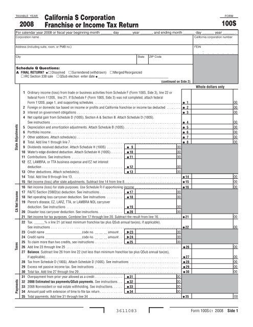 2008 Form 100S -- California S Corporation Franchise or Income