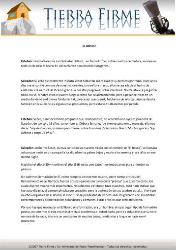 EL BOSCO Esteban: Hoy hablaremos con Salvador ... - Tierra Firme