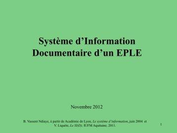 Le système d'information - Sites disciplinaires de l'Académie de ...