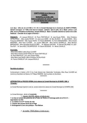 COMPTE-RENDU de la Sance du CONSEIL - Ville de Saint Cyprien