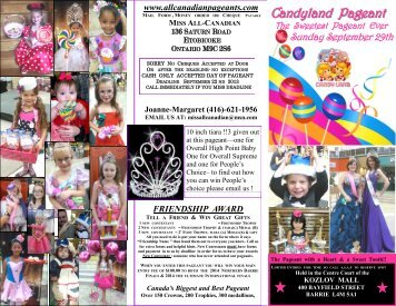 Candyland Pageant - Miss All Canadian Pageants