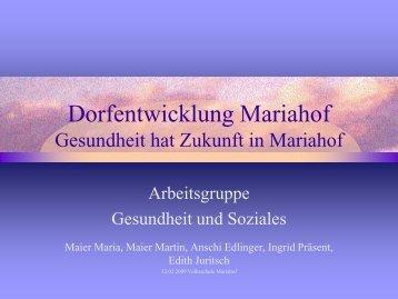 Protokoll AG Gesundheit - Dorfentwicklung Mariahof
