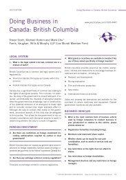 Doing Business in Canada: British Columbia - Farris